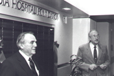 Photograph of the unveiling of the first Sequoia Hospital Foundation donor wall.