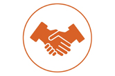 Giving pictogram depicting two hands gripping eachother.