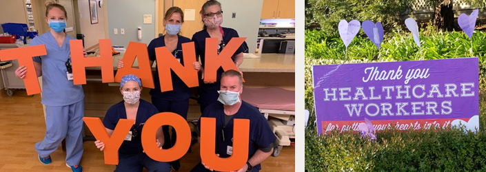 ICU team holding Thank You sign.